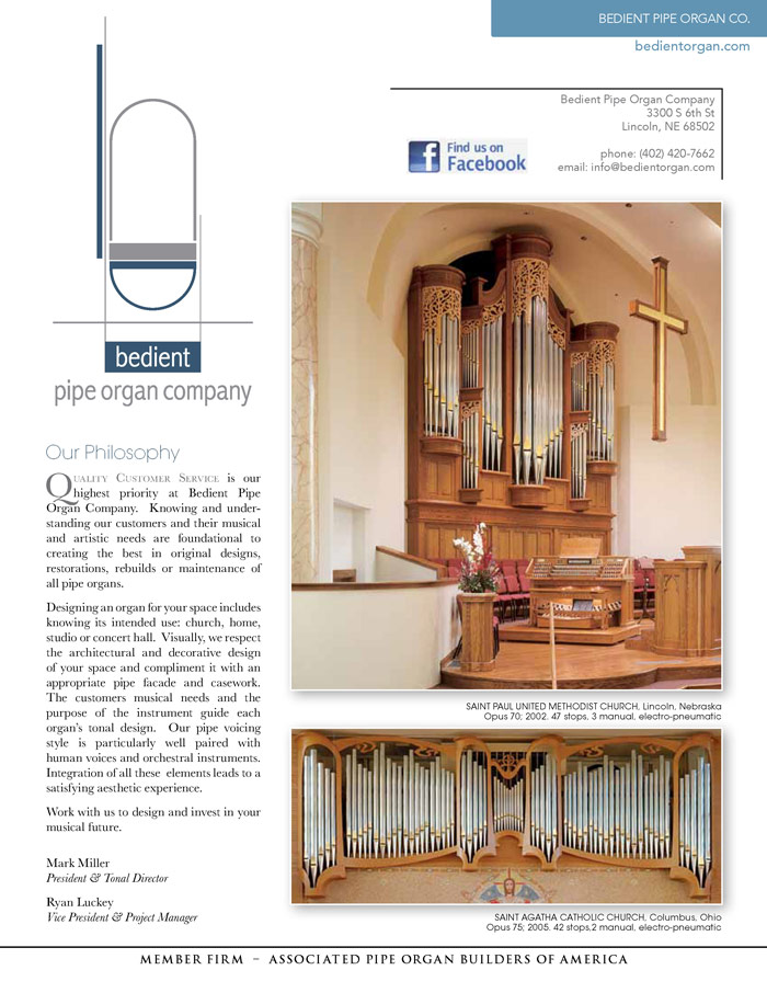 Prospectus Page 1 for Bedient Pipe Organ Co