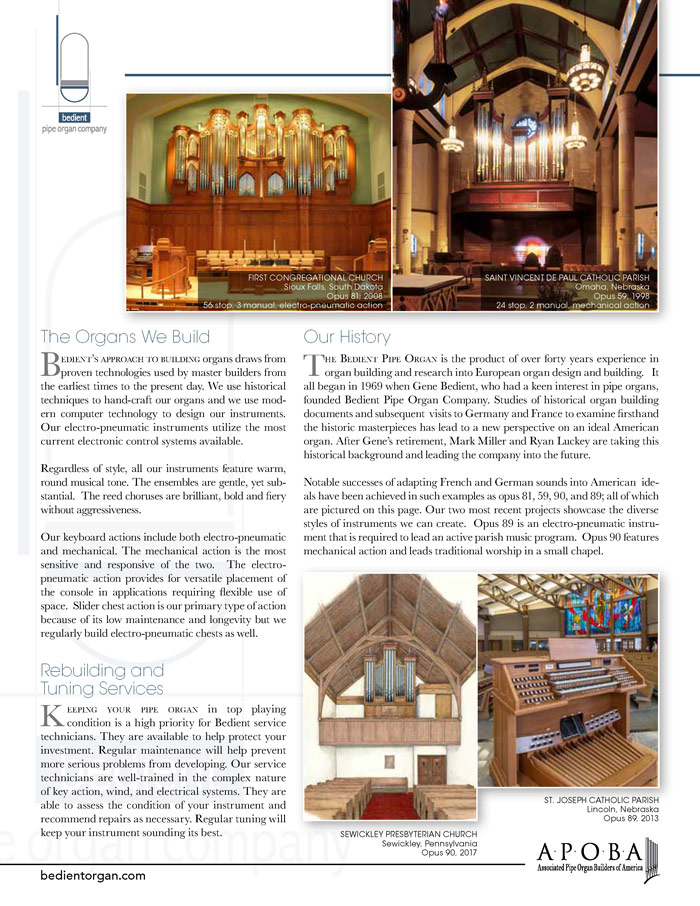 Prospectus Page 2 for Bedient Pipe Organ Co