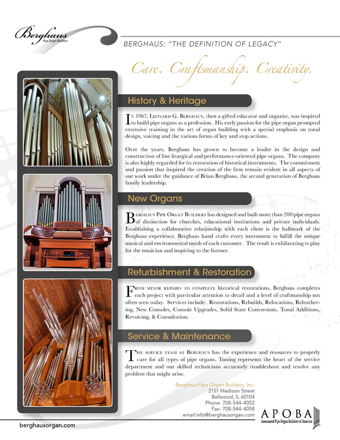 Prospectus Page 2 for Berghaus Pipe Organ Builders