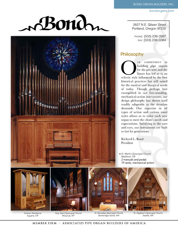 Prospectus Page 1 for Bond Organ Builders