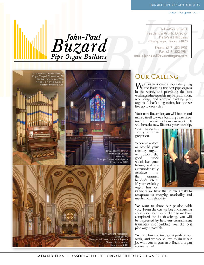 Prospectus Page 1 for Buzard Pipe Organ Builders
