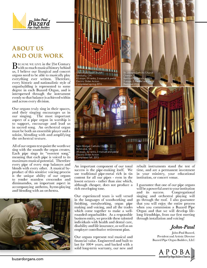Prospectus Page 2 for Buzard Pipe Organ Builders