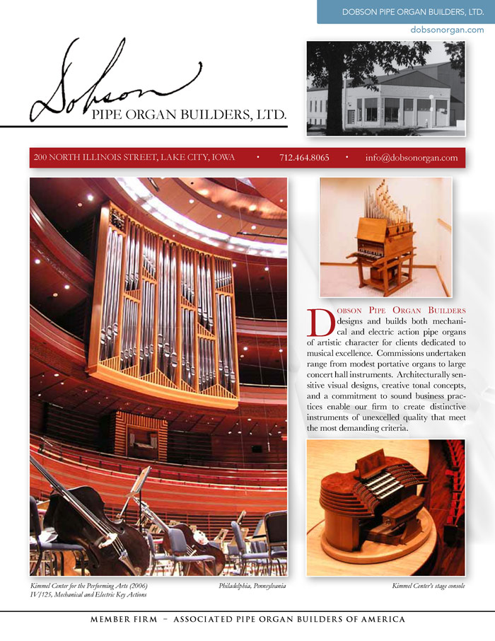 Prospectus Page 1 for Dobson Pipe Organ Builders