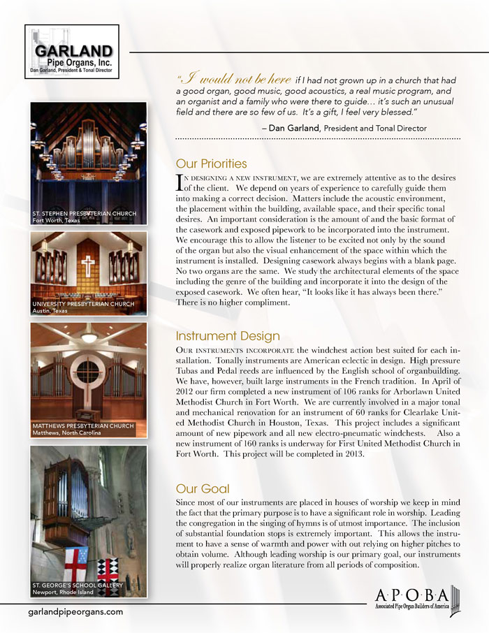 Prospectus Page 2 for Garland Pipe Organs, Inc.