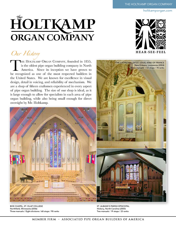 Prospectus Page 1 for Holtkamp Organ Co