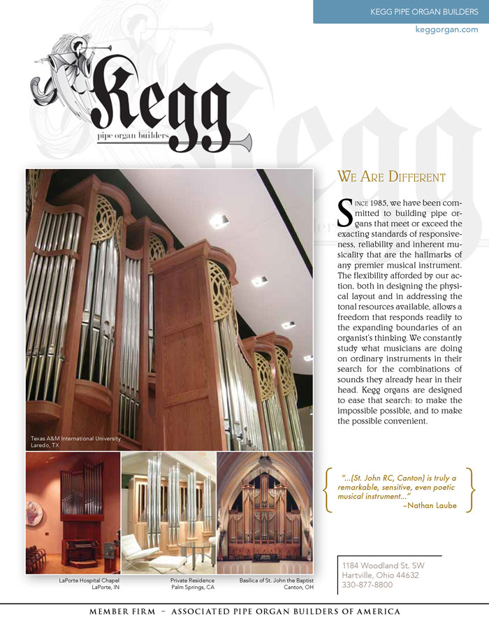 Prospectus Page 1 for Kegg Pipe Organ Builders