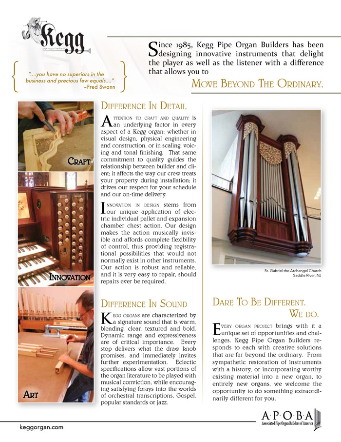 Prospectus Page 2 for Kegg Pipe Organ Builders