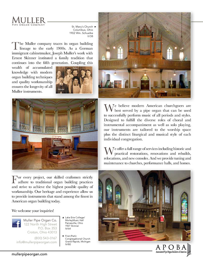 Prospectus Page 2 for Muller Pipe Organ Co