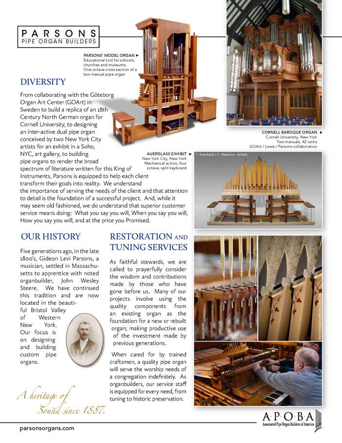 Prospectus Page 2 for Parsons Pipe Organ Builders
