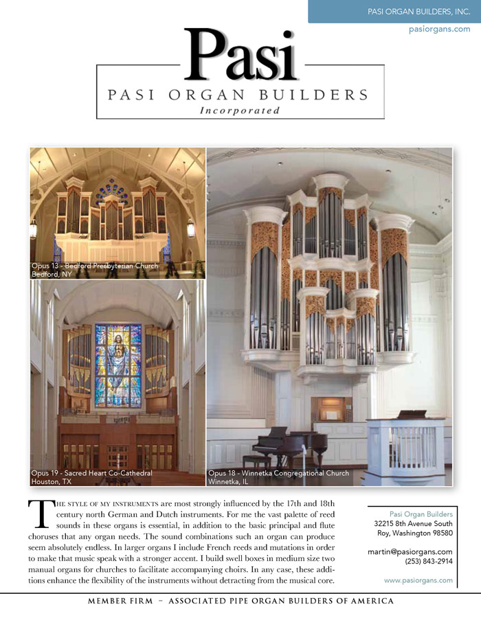 Prospectus Page 1 for Pasi Organbuilders