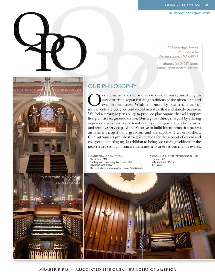 Prospectus Page 1 for Quimby Pipe Organs