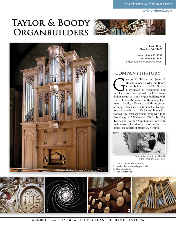 Prospectus Page 1 for Taylor and Boody Organbuilders