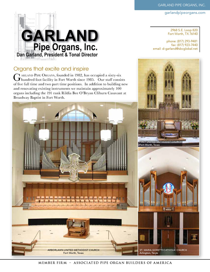 Prospectus Page 1 for Garland Pipe Organs, Inc.